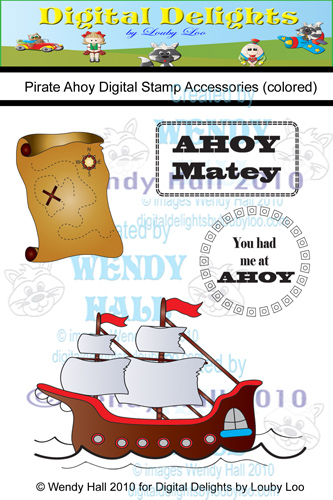 Pirate Ahoy Digital Stamps watermark color