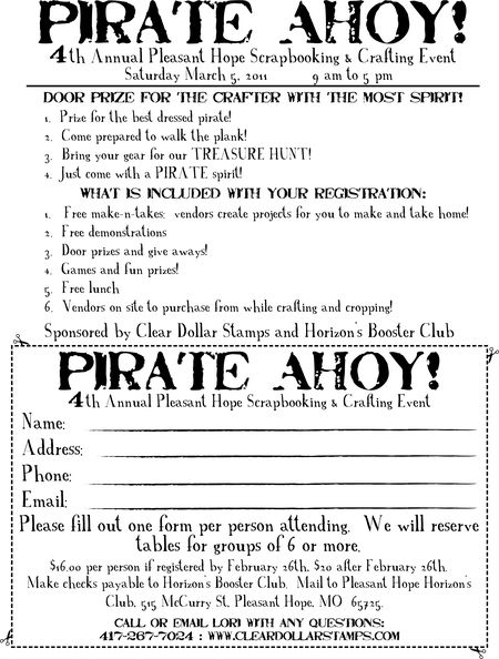 Pleasant Hope Pirate Ahoy 2011 Registration Form