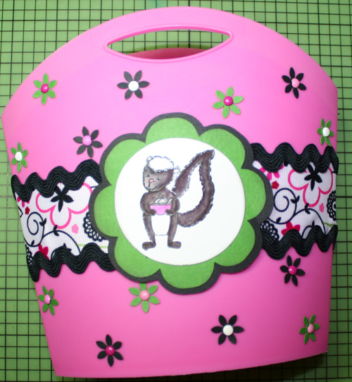 Bag with added flowers